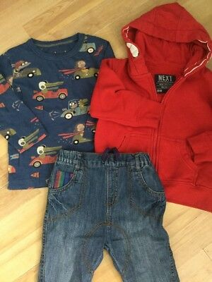 Next Baby Boys Outfit 12-18 Months Jeans, Hoodie, Cars T Shirt