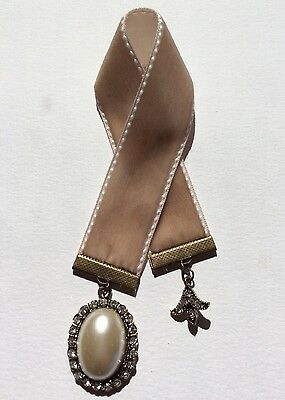 Pretty Beige Velvet Ribbon Bookmark, Handmade in Australia, Great Gift