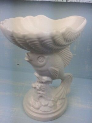 Vintage Fish & Shell Pedestal Dish - Pottery - Nautical Interior