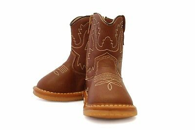 Tan Leather Squeaky Cowboy Boots for Toddlers