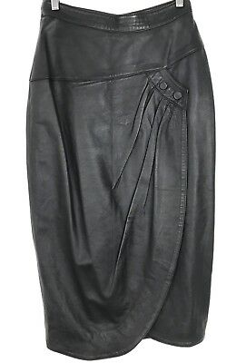 Vintage 1980s Black Leather High Waisted Button Detail Skirt S