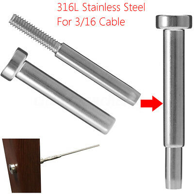"2X Steel 316 Invisible Receiver + Swage Stud End Fitting for 3/16"" Cable Railing"