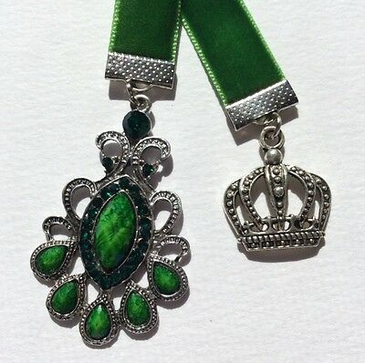 Pretty Bright Green Velvet Ribbon Bookmark with Crown,  Handmade in Australia