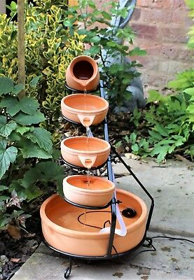 Solar Cascade Water Feature in Terracotta with LED Light and Battery Garden