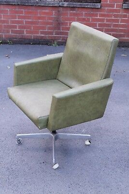 MID CENTURY LEATHERETTE CHROME EXECUTIVE OFFICE CHAIR RETRO VINTAGE 50s 60s 70s