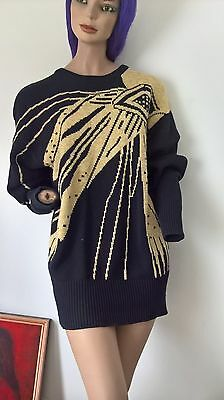 Glitzy Gold and Black Vintage 80s  l/s knit jumper size One Size