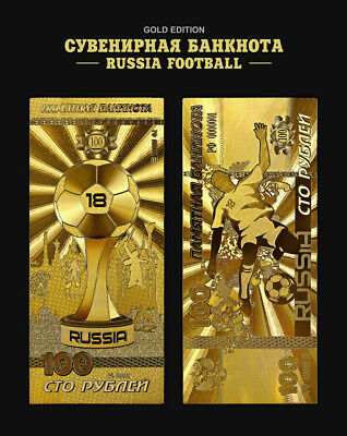 Russia, 2017 World Cup 2018  100 Rbl  Rubels souvenir note in gold color