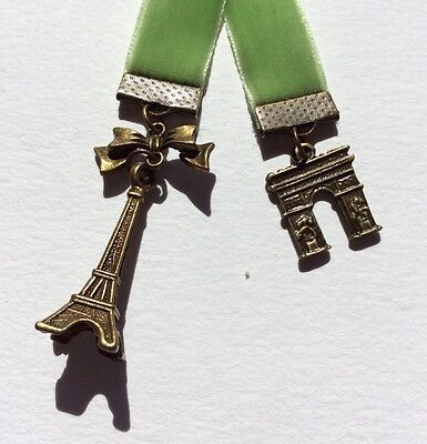 Beautiful Apple Green Velvet Ribbon Bookmark with Eiffel Tower & Arc de Triumph