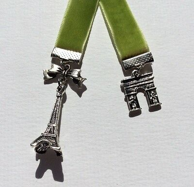 Beautiful Olive Green Velvet Ribbon Bookmark with Eiffel Tower & Arc de Triumph