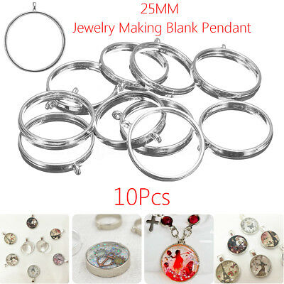 10X 25mm Silver Open Back Bezel Setting Resin Jewelry Making Blank Pendant Trays