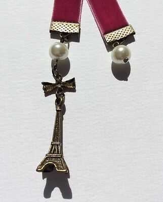 Beautiful Dark Pink Velvet Ribbon Bookmark with Eiffel Tower, Handmade in Aust