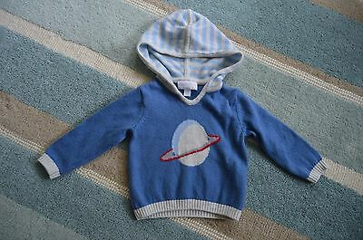 The Little White Company 3-6months Knitted Space Planet Hoody Jumper Wool Cotton