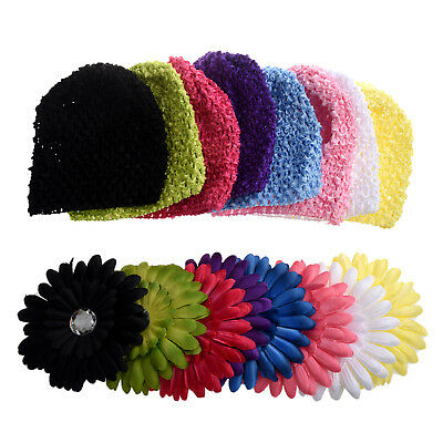 3X(New 8pcs Colorful Crochet Baby Flower Beanie Waffle Hats Set for Baby Girls L