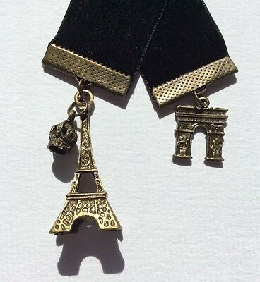 Gorgeous Black Velvet Ribbon Bookmark with Eiffel Tower & Arc de Triumph