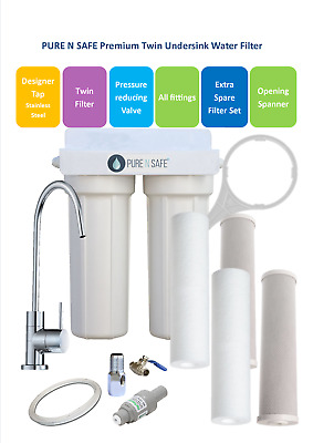 Premium Twin Undersink Water Filter System, Free Designer Stainless Stee Tap