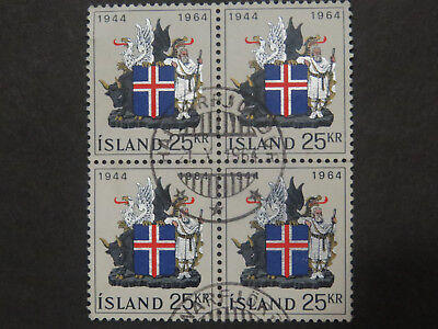 Iceland 1964 20th Anniversary of Republic High Value Block of 4 - High CV