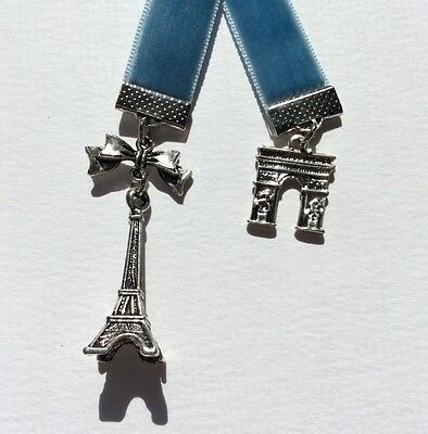 Very Pretty Blue Velvet Ribbon Bookmark with Eiffel Tower & Arc de Triumph