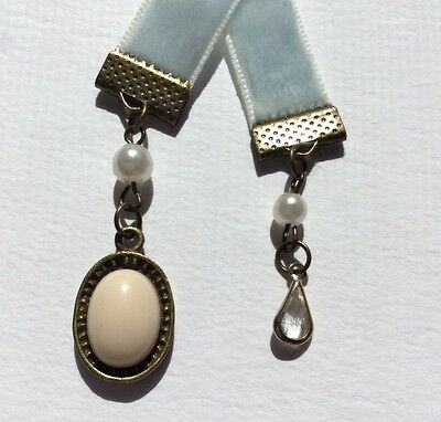 Lovely Light Blue Velvet Ribbon Bookmark, Handmade in Australia, Great Gift