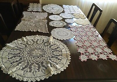 HAND CROCHET 24 Assorted Doilies - Exc Cond