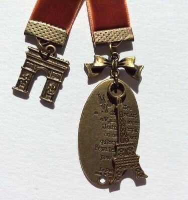 Pretty Warm Brown Velvet Ribbon Bookmark with Eiffel Tower & Arc de Triumph
