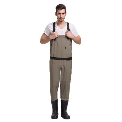 Waterproof Breathable Fishing Waders w/ Rubber Boots - Mens - Beige - [ADW-1511]