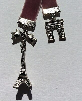 Pretty Dusty Pink Velvet Ribbon Bookmark with Eiffel Tower & Arc de Triumph