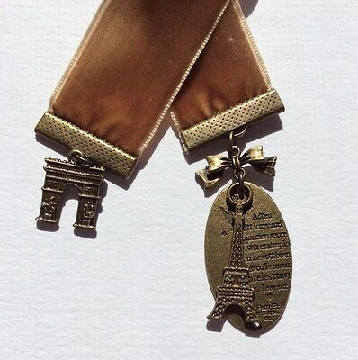 Pretty Wide Warm Brown Velvet Ribbon Bookmark with Eiffel Tower & Arc de Triumph