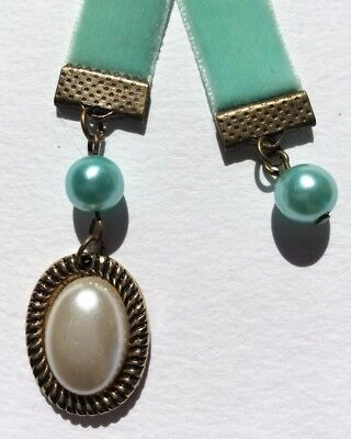 Gorgeous Light Teal Velvet Ribbon & Faux Pearl Bookmark, Handmade in Australia