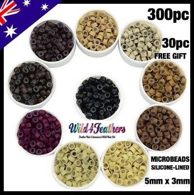 Hair Micro Extension Bead Rings 300 Silicone Lined HIGH QUALITY 8 Colours +30FRE