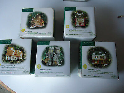 Department 56 Dickens village lighted building Christmas ornament lot church 5pc
