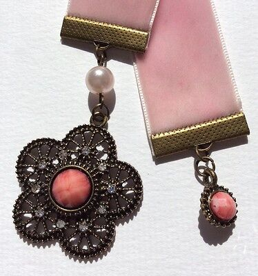 Wide Pink Velvet Ribbon & Faux Gem Bookmark, Handmade in Australia, Great Gift