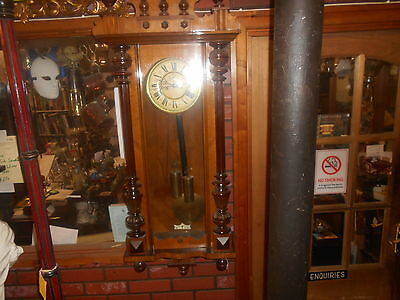 Antique Victorian Walnut Double Weighted Vienna Wall Clock Carved Pedement