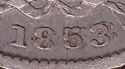 UK, Britain 1853/53 Sixpence Strong Overdate Error English Silver Victoria Coin