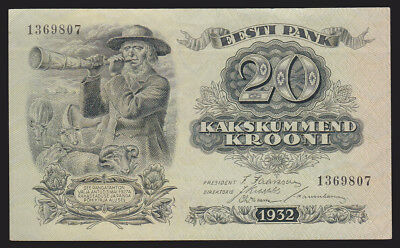 Estonia 1932 20 Krooni Currency Bank Note AU+ Pick 64a P-64a