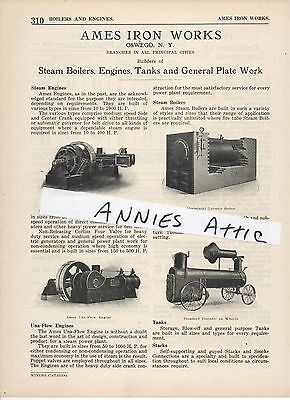 1920 advertising ad AMES IRON WORKS Oswego NY  portable Steam Boiler Una Flow