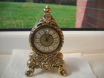 Pretty Little Brass German Mantel Clock In G.w.o.