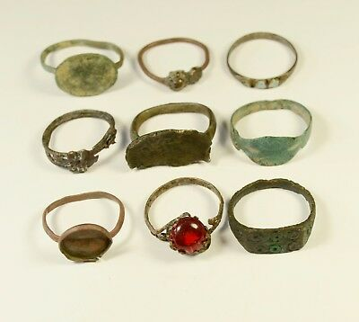 Mixed Lot Of 9 Roman / (Post) Medieval Bronze Rings - Great Artifacts