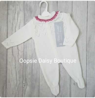 ☆ Babys Giirls Gorgeous Spanish Knitted Romper with Lace Frill Collar ☆
