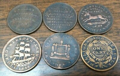 LOT of 6 DIFFERENT 1830's HARD TIMES TOKENS****
