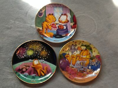 Lot Of 3 Garfield Danbury Mint Plates July May January Calander Norma Pooky