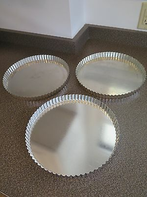 """Matfer Bourgeat 341777 11"""" Tart / Quiche Pans (3) with Removable Bottoms"""