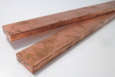 8672) Copper, vierkantstab, Profile, Square, 4 Edge, Flat, 30X10, 30mm x 10mm