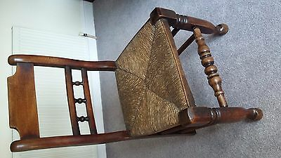 Victorian Rush Seated Oak Country Chair