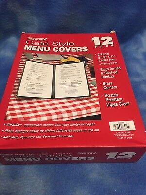 "New (12) Double Fold Menu Covers 8 1/2"" X 11"" 2 Page 4 View 2 Fold Restaurant"