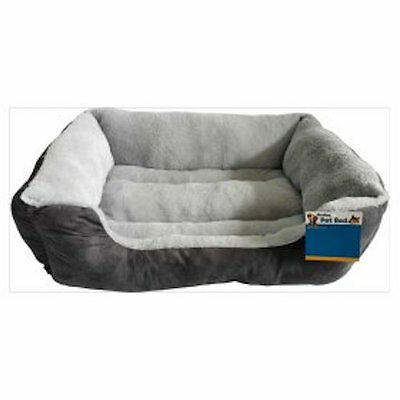 Soft Fur Grey Dog Bed small