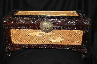 Rare Antique Handmade 18th Phoenix Peacock Century Carved Chinese Camphor Wood C