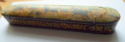 Antique 19th C.Qajar Persian Lacquer Papier Mache Scribe Box PoloPlayers