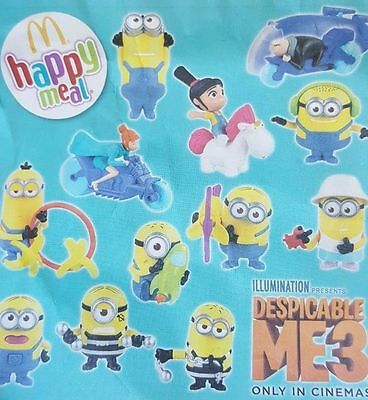 Mcdonalds Despicable Me 3 Minions Complete Full Set 12 Toys Movie 2017
