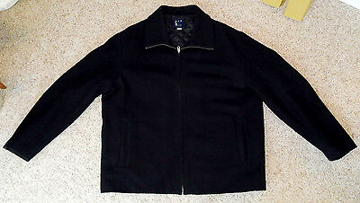 GAP Black Wool Zip Up Jacket Quilted Lining Collared Coat Men's Size XL