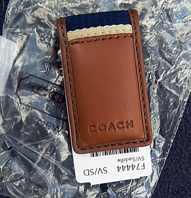 Coach Men's Silver/saddle Brown Heritage Web Leather Money Clip F74444